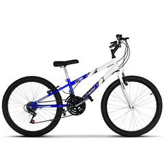 Bicicleta Aro 24 Rebaixada Bicolor 18 Marchas Aço Carbono Ultra Bikes Azul - Branco