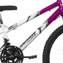 Bicicleta Aro 24 Rebaixada Bicolor 18 Marchas Aço Carbono Ultra Bikes Branco - Rosa