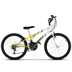Bicicleta Aro 24 Rebaixada Bicolor 18 Marchas Ultra Bikes Amarelo e Branco