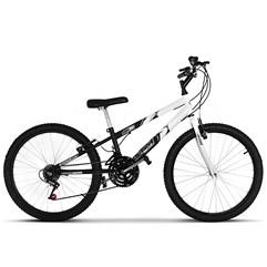 Bicicleta Aro 24 Rebaixada Bicolor 18 Marchas Ultra Bikes Preto e Branco