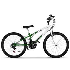 Bicicleta Aro 24 Rebaixada Bicolor 18 Marchas Ultra Bikes Verde e Branco