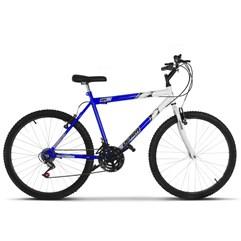 Bicicleta Aro 26 Masculina Bicolor 18 Marchas Ultra Bikes Azul e Branco