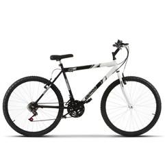 Bicicleta Aro 26 Masculina Bicolor 18 Marchas Ultra Bikes Preto e Branco
