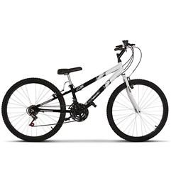 Bicicleta Aro 26 Rebaixada Bicolor 18 Marchas Ultra Bikes Preto Fosco e Branco