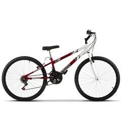 Bicicleta Aro 26 Rebaixada Bicolor 18 Marchas Ultra Bikes Vermelho e Branco
