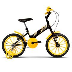 Bicicleta Infantil Com Rodinhas Ultra Kids Aro 16 Preto/Amarelo