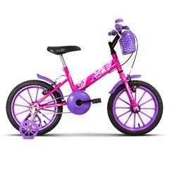 Bicicleta Infantil Com Rodinhas Ultra Kids Aro 16 Rosa/Lilás