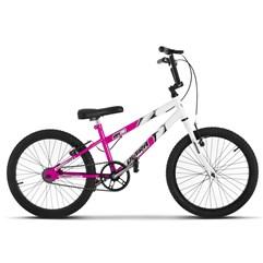 Bicicleta Ultra Aro 20 Rebaixada Bicolor Branco/Rosa Freio V Break
