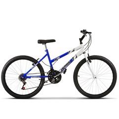 Bicicleta Ultra Aro 24 Feminina Bicolor Branco e Azul Freio V Break