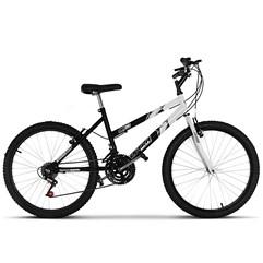 Bicicleta Ultra Aro 24 Feminina Bicolor Preto Fosco Freio V Break