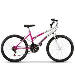 Bicicleta Ultra Aro 24 Feminina Bicolor Rosa e Branco Freio V Break