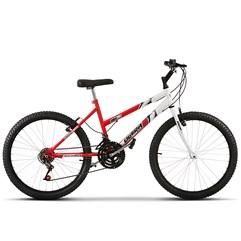 Bicicleta Ultra Aro 24 Feminina Bicolor Vermelho Ferrari Freio V Break