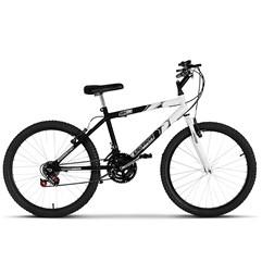 Bicicleta Ultra Aro 24 Masculina Bicolor Preto Fosco Freio V Break