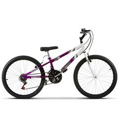 Bicicleta Ultra Aro 24 Rebaixada Bicolor Freio V Break Lilás/Branco