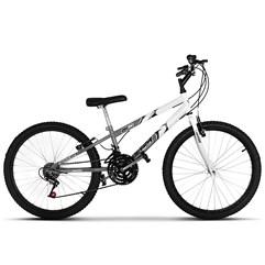 Bicicleta Ultra Aro 24 Rebaixada Bicolor Freio V Break Space Gray/Branco