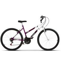 Bicicleta Ultra Aro 26 Feminina Bicolor Freio V Break Lilás/Branco