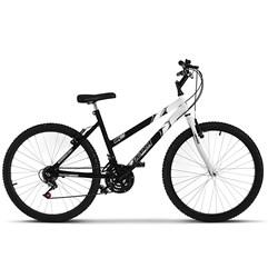 Bicicleta Ultra Aro 26 Feminina Bicolor Freio V Break Preto Fosco/Branco