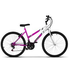 Bicicleta Ultra Aro 26 Feminina Bicolor Freio V Break Rosa/Branco