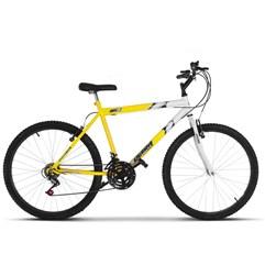 Bicicleta Ultra Aro 26 Masculina Bicolor Freio V Break Amarelo e Branco