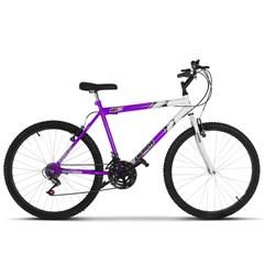 Bicicleta Ultra Aro 26 Masculina Bicolor Freio V Break Lilás/Branco