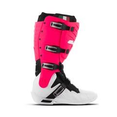 Bota Motocross Articulada Jett Hi-Vis Branco/Rosa