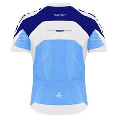 Camisa Ciclismo Ultra Bikes Max Dry Manga Curta Azul e Branco
