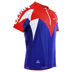 Camisa Ciclismo Ultra Bikes Max Dry Manga Curta Azul e Vermelho
