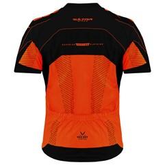 Camisa Ciclismo Ultra Bikes Max Dry Manga Curta Laranja e Preto