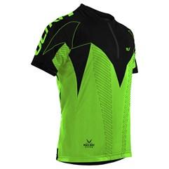 Camisa Ciclismo Ultra Bikes Max Dry Manga Curta Preto e Verde