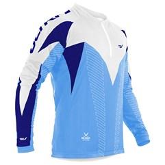 Camisa Ciclismo Ultra Bikes Max Dry Manga Longa Azul e Branco