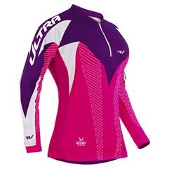 Camisa Ciclismo Ultra Bikes Max Dry Manga Longa Rosa