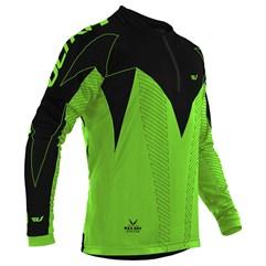 Camisa Ciclismo Ultra Bikes Max Dry Manga Longa Verde e Preto