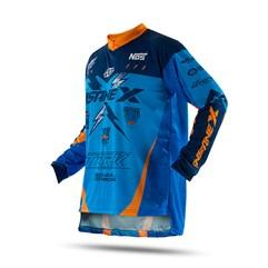 Camisa Motocross Infantil Pro Tork Insane X Azul e Laranja