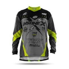 Camisa Motocross Infantil Pro Tork Insane X Cinza e Amarelo