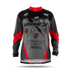Camisa Motocross Infantil Pro Tork Insane X Cinza e Vermelho