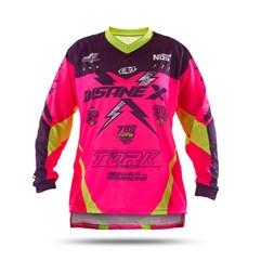 Camisa Motocross Infantil Pro Tork Insane X Rosa e Amarelo