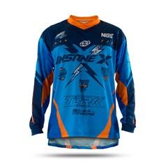Camisa Motocross Insane X Azul e Laranja