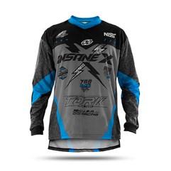 Camisa Motocross Insane X Cinza e Azul