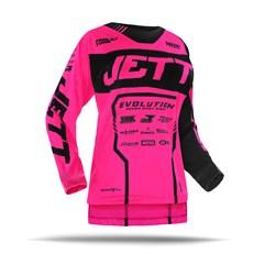 Camisa Motocross Jett Evolution 2 2019 Preto/Rosa