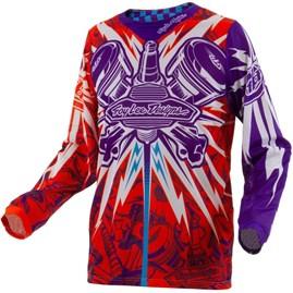 Camisa Motocross Troy Lee SE Piston Laranja/Roxo