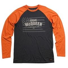 Camiseta Manga Longa MCQueen Americana Preto/Laranja