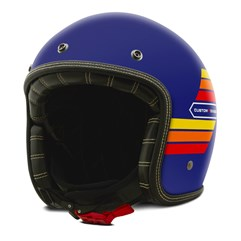 Capacete Custom Aberto Old Years Fosco Old School Vintage Chopper Classico Etceter Azul