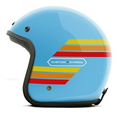 Capacete Custom Aberto Old Years Old School Vintage Chopper Classico Etceter Azul-claro