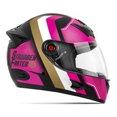 Capacete Etceter Stronger Faster Fosco Rosa - Dourado