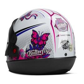 Capacete Feminino Pro Tork Super Sport Moto Butterfly Brilhante
