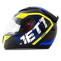 Capacete Jett Modelo Evo Line Brilhante Azul - Amarelo