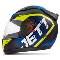 Capacete Jett Modelo Evo Line Fosco Azul - Amarelo