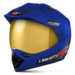 Capacete Liberty MX Pro Vision Azul Viseira Dourada