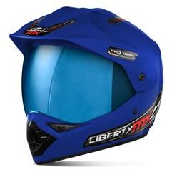 Capacete Liberty MX Pro Vision Azul Viseira Iridium