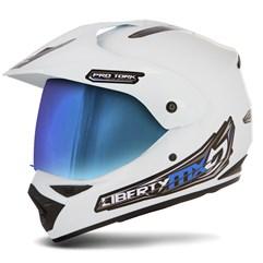 Capacete Liberty MX Pro Vision Branco Viseira Camaleão